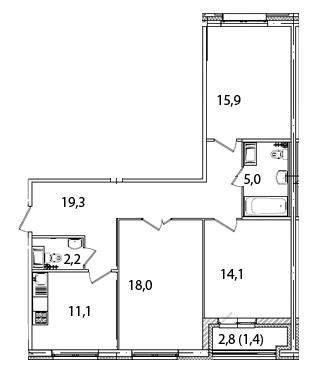 Планировка Трёхкомнатная квартира площадью 87.2 кв.м в ЖК «Царская Столица»