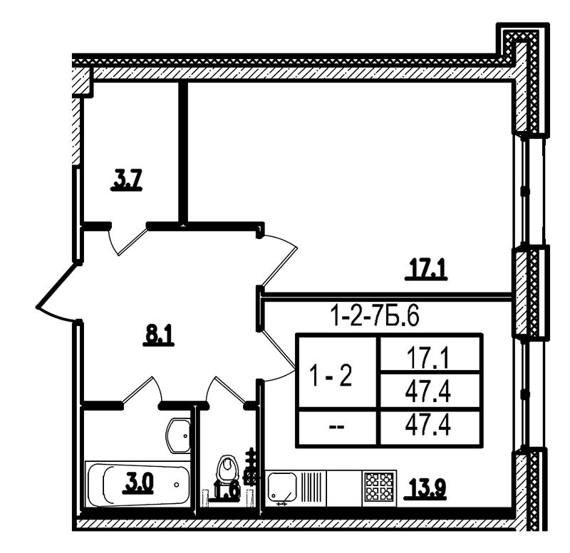 Планировка Однокомнатная квартира площадью 47.5 кв.м в ЖК «Царская Столица»