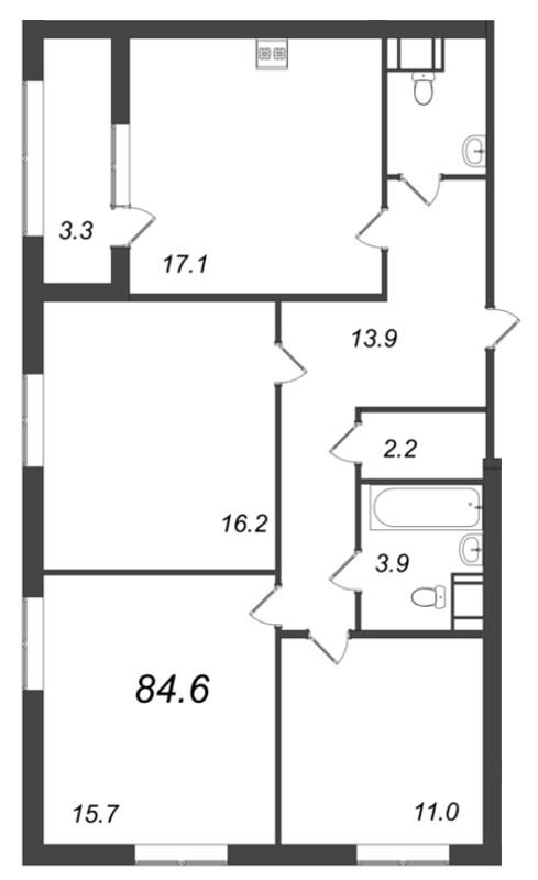 Планировка Трёхкомнатная квартира площадью 84.6 кв.м в ЖК «Царская Столица»