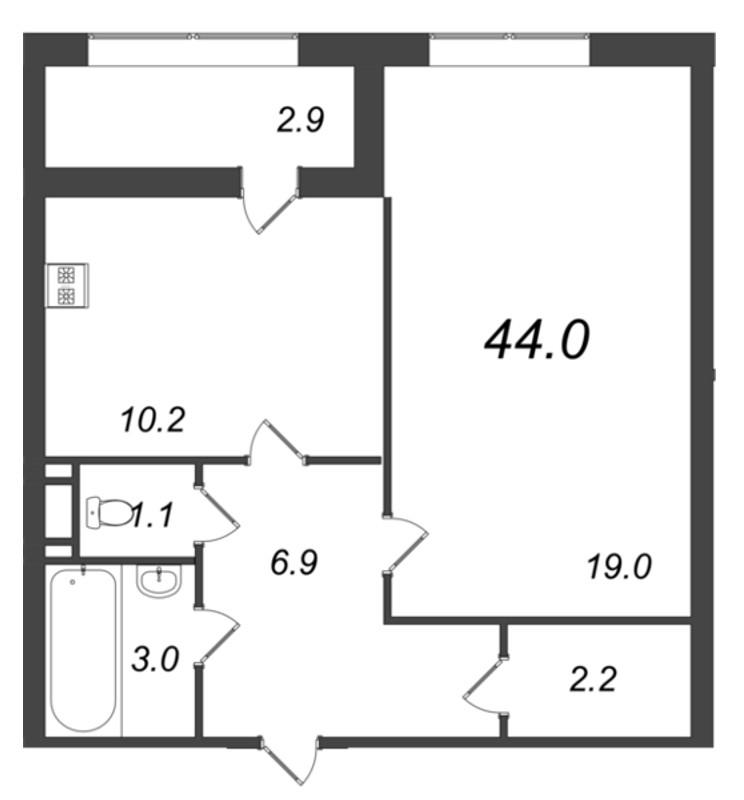 Планировка Однокомнатная квартира площадью 44 кв.м в ЖК «Царская Столица»