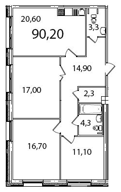 Планировка Трёхкомнатная квартира площадью 90.2 кв.м в ЖК «Царская Столица»