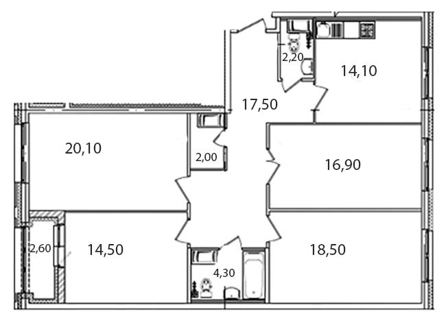 Планировка Четырёхкомнатная квартира площадью 112.8 кв.м в ЖК «Царская Столица»