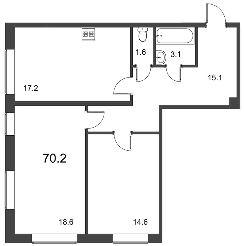 Планировка Двухкомнатная квартира площадью 70.5 кв.м в ЖК «Царская Столица»