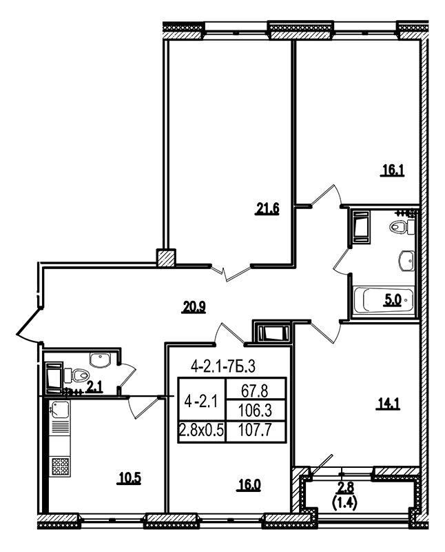 Планировка Четырёхкомнатная квартира площадью 107.1 кв.м в ЖК «Царская Столица»