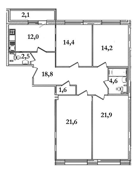 Планировка Четырёхкомнатная квартира площадью 113.8 кв.м в ЖК «Царская Столица»