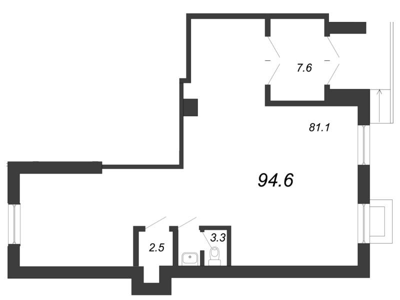 Планировка Коммерческое помещение площадью 94.6 кв.м в ЖК «Царская Столица»