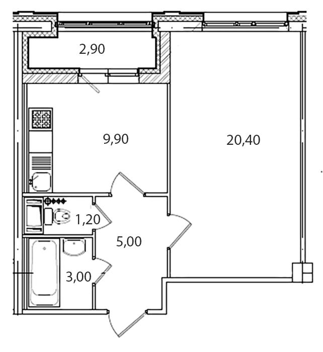 Планировка Однокомнатная квартира площадью 40.7 кв.м в ЖК «Царская Столица»