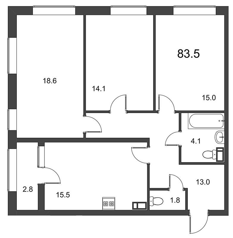 Планировка Трёхкомнатная квартира площадью 84.2 кв.м в ЖК «Царская Столица»
