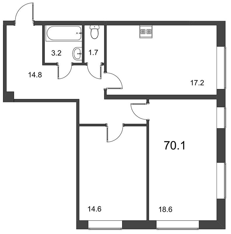 Планировка Двухкомнатная квартира площадью 70.6 кв.м в ЖК «Царская Столица»