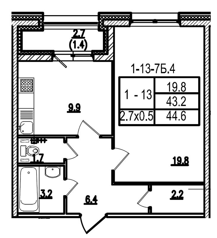 Планировка Однокомнатная квартира площадью 44.5 кв.м в ЖК «Царская Столица»