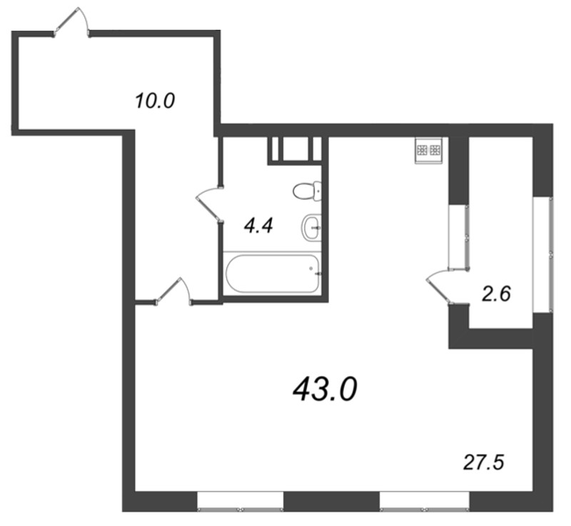 Планировка Студия площадью 43 кв.м в ЖК «Царская Столица»