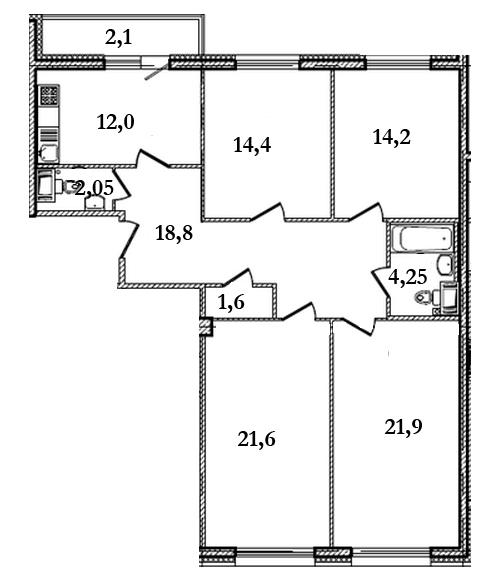 Планировка Четырёхкомнатная квартира площадью 112.7 кв.м в ЖК «Царская Столица»