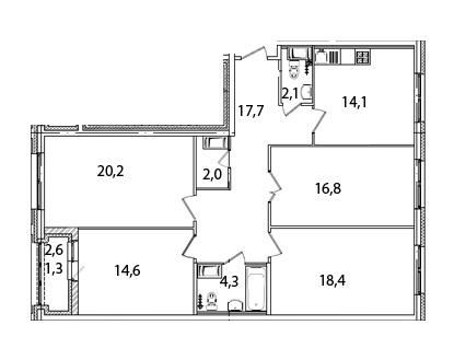 Планировка Четырёхкомнатная квартира площадью 111 кв.м в ЖК «Царская Столица»
