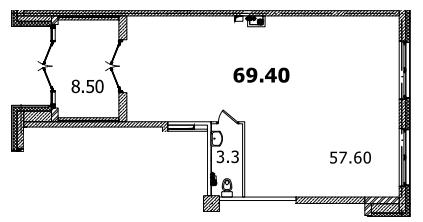Планировка Коммерческое помещение площадью 69.4 кв.м в ЖК «Царская Столица»