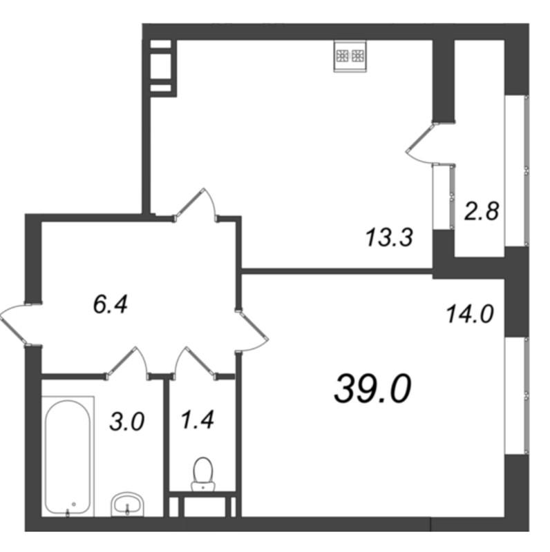 Планировка Однокомнатная квартира площадью 39.3 кв.м в ЖК «Царская Столица»