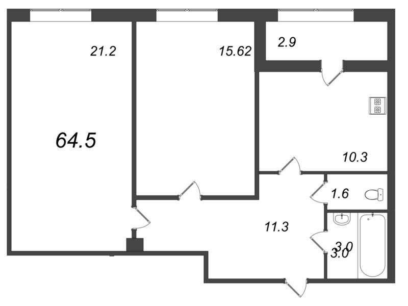 Планировка Двухкомнатная квартира площадью 64.5 кв.м в ЖК «Царская Столица»