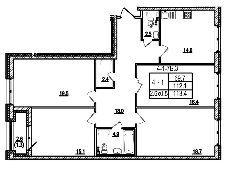 Планировка Четырёхкомнатная квартира площадью 113.5 кв.м в ЖК «Царская Столица»