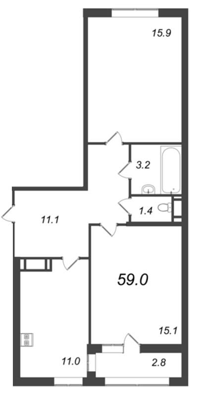 Планировка Двухкомнатная квартира площадью 59 кв.м в ЖК «Царская Столица»