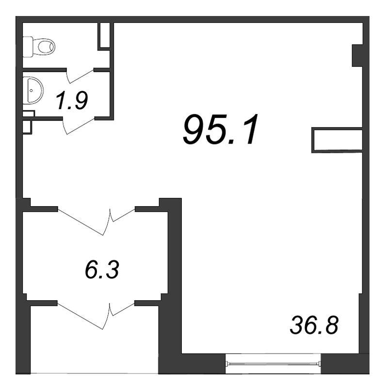Планировка Коммерческое помещение площадью 95.1 кв.м в ЖК «Царская Столица»
