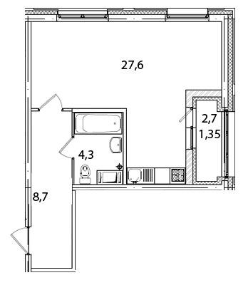 Планировка Студия площадью 41.8 кв.м в ЖК «Царская Столица»